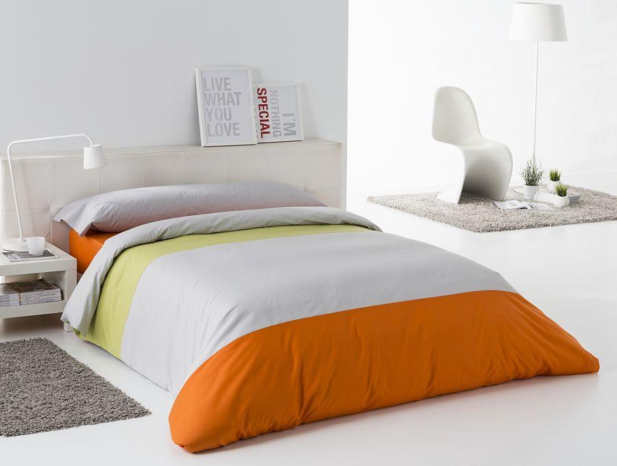 Funda n rdica tricolor pistacho perla naranja sarabia interior - Funda nordica naranja ...
